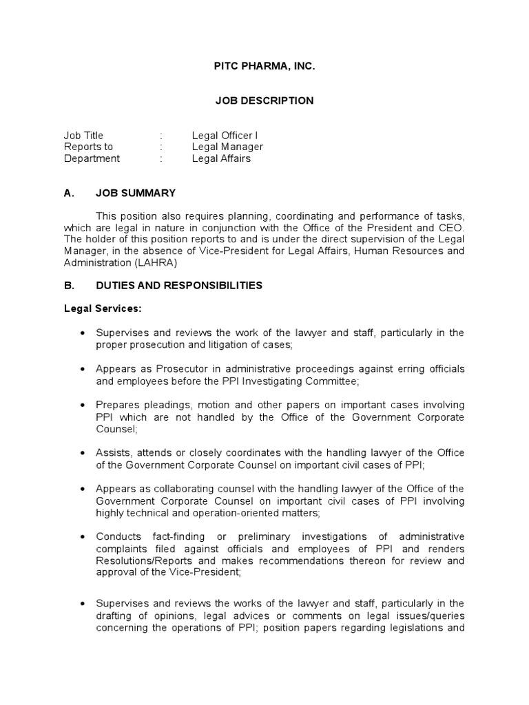 JD-Legal Officer I   Lawsuit   Lawyer