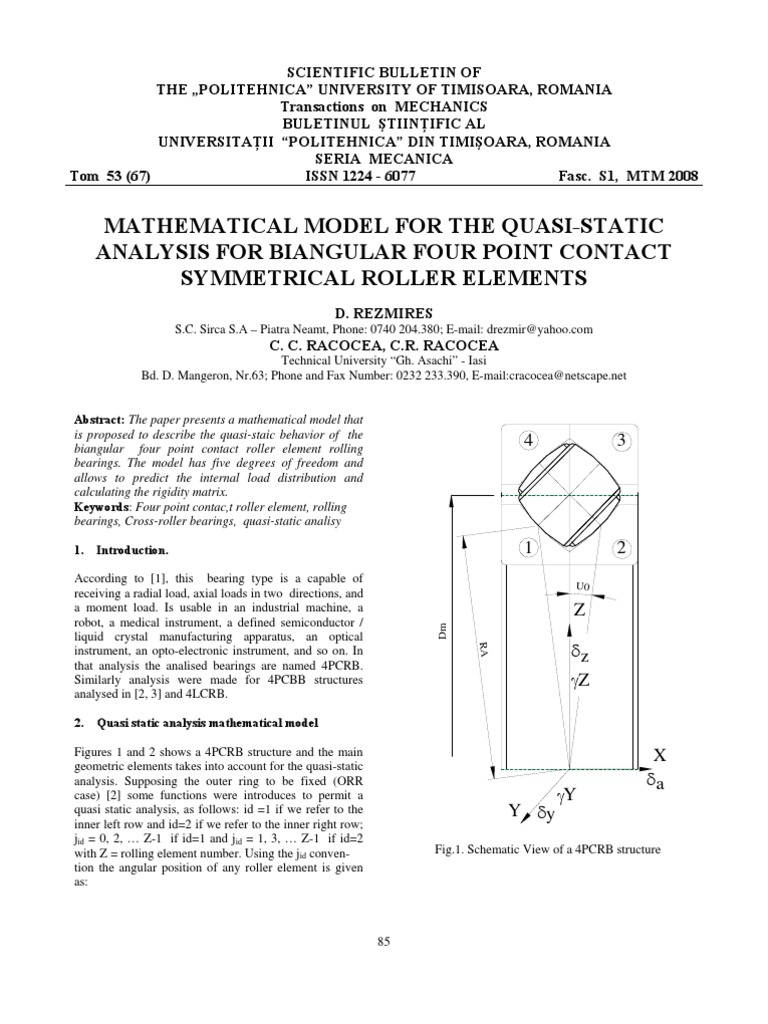 Mathematical Model for the Quasi-static Analysis for Biangular Four ...