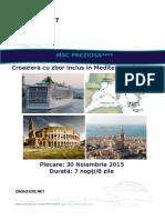 Msc Preziosa 30 Noiembrie 2015 Mediterana de Vest 7 Nopti Civitavecchia Wccv