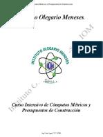 Curso Intensivo de de Computos Metricos y Presupuestos Iom 2014