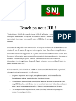 Communiqué Touch Pas Nout JIR