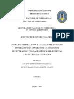 Anteproyecto Satisfacción del Usuario y Calidad Del Cuidado Enfermero en URPA Hospital II.2 Santa Rosa Piura