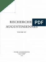Recherches Augustiniennes Volume XV - 1980