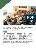 A Urbino corsi di alta formazione per dirigenti sanitari - L'Altro Giornale.it, 2 marzo 2016
