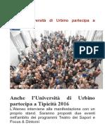 Anche l'Università di Urbino a Tipicità - L'Atro Giornale Marche.it, 2 marzo 2016