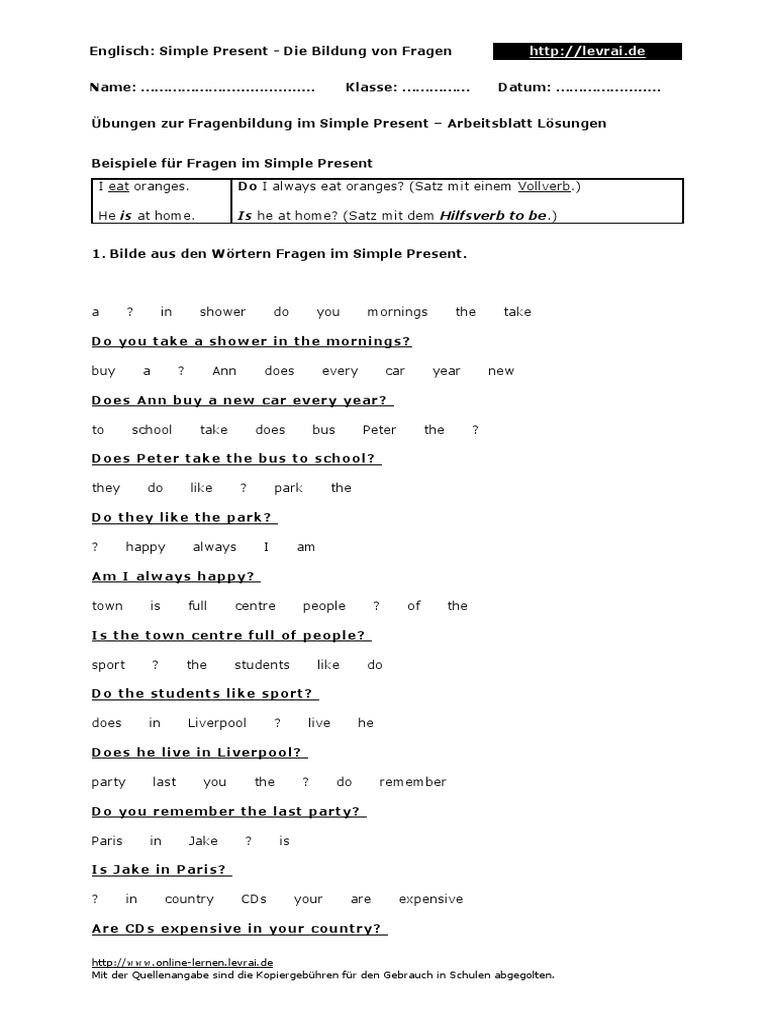 Simple Present 60 Fragen Uebungen Arbeitsblatt Loesung