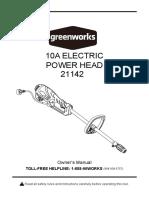 Greenworks 21142 Power Head Manual E