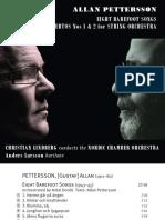 """Booklet For Allan Pettersson """"Barfotasånger"""""""