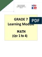 Grade 7 Math Learning Module, First Quarter