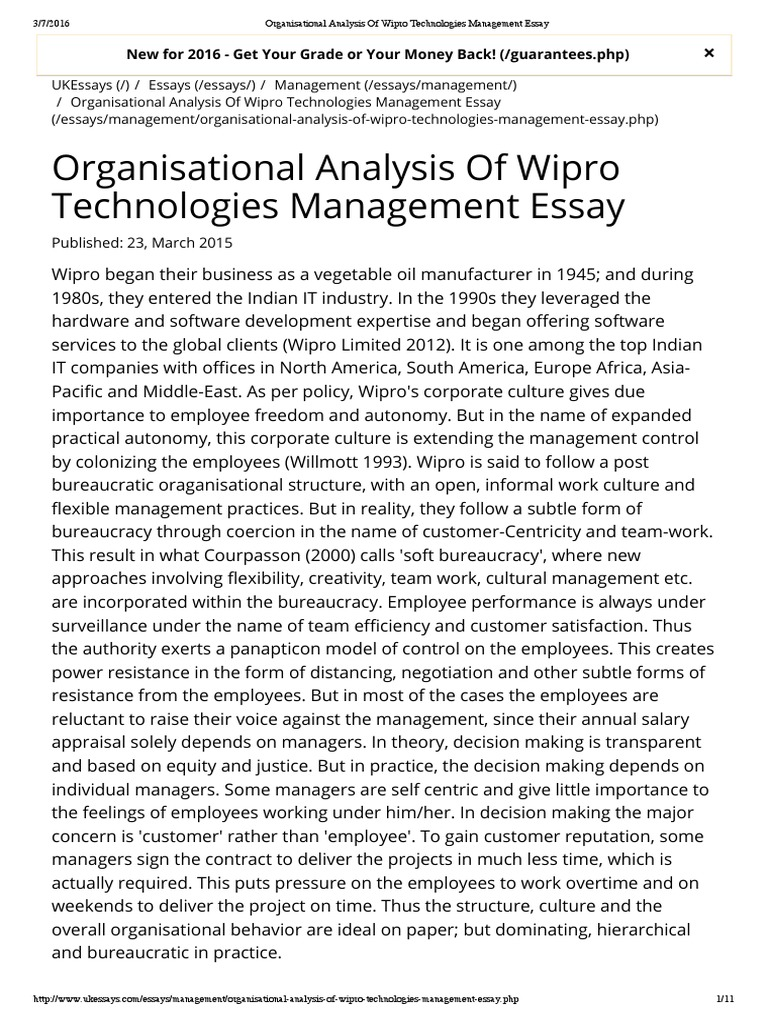 organisational analysis of wipro technologies management essay organisational analysis of wipro technologies management essay employment