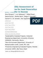 Sustainability Assessment of Alternatives for Heat Generation and Transfer in Saunas