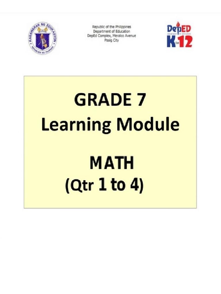 Grade 7 Math Learning Module Q4 | Triangle | Line (Geometry)