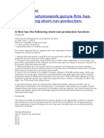 A Firm Has the Following Short-run Production Function