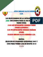 Citacion Jugadores Seleccionados 2006 y 2007 Para Convocatoria Liga de Bogota.