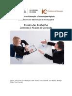 Guião de Trabalho - Entrevista e Análise de Conteúdo