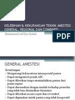 Kelebihan & Kekurangan Teknik Anestesi General, Regional