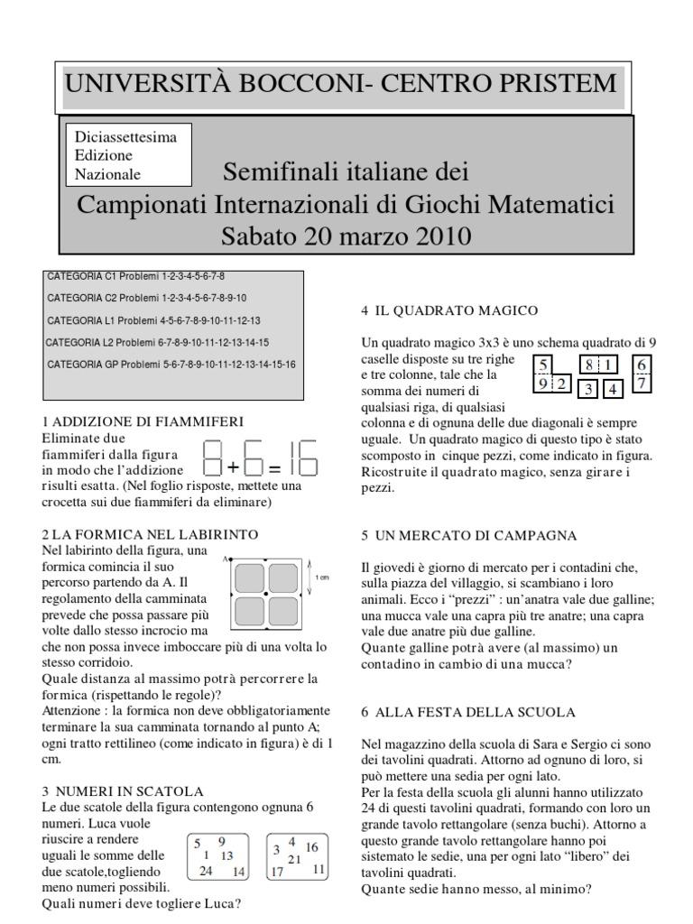 Campionati Internazionali Giochi Matematici Le Semifinali Del 20