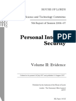 Personal Internet Security Volume II - Evidence  Session 2006-07