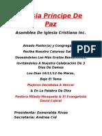 formato carta de iglesia Principe de Paz