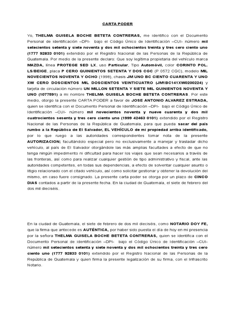 Carta Poder para Vehiculo