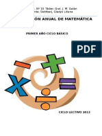 Planificación Matemática 2012