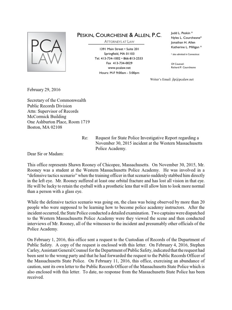 Lawyer's Request for Copy of Police Report | Police
