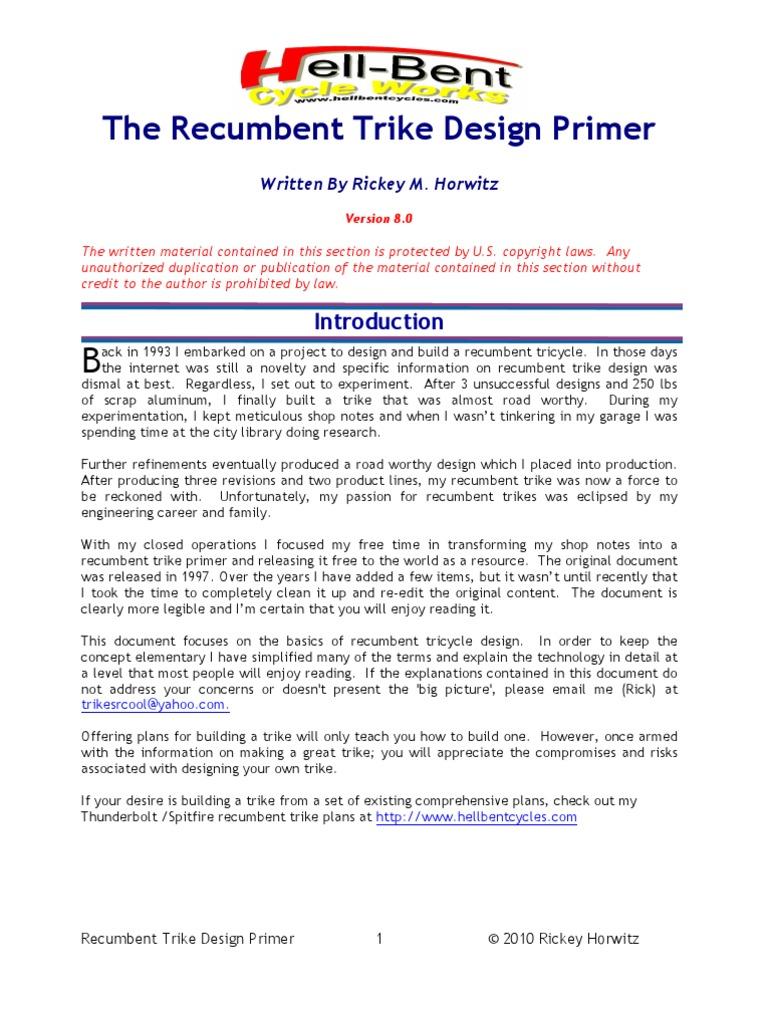Recumbent Trike Design Primer | Steering | Suspension (Vehicle)