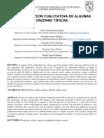 Reporte1. Determinación cualtitativa de algunas enzimas tipicas