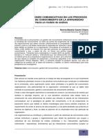 LAS INTERACCIONES COMUNICATIVAS EN LOS PROCESOS DE GESTIÓN DE CONOCIMIENTO EN LA UNIVERSIDAD Hacia un modelo de análisis