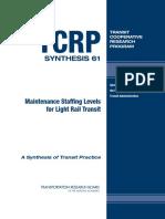 Mainrenance Staffing Levels for Light Rail Transit