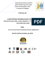 Convocatoria II Encuentro Internacional Pedagogia