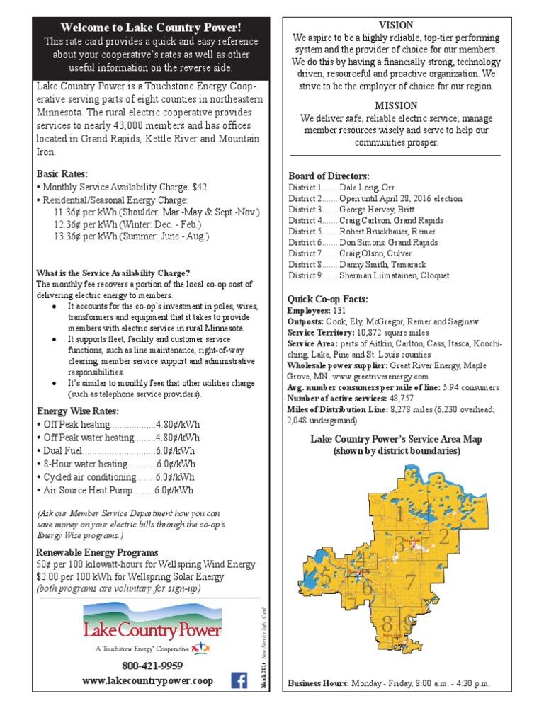 Lake Country Power Rates And Rebates Kilowatt Hour Physical Universe