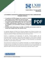 LA ECONOMÍA ES UN DESASTRE, EXPRESAN DIPUTADOS DEL PAN AL SUBSECRETARIO FERNANDO APORTELA