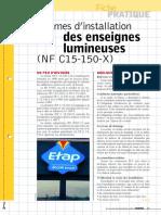 Normes d'Installation Des Enseignes Lumineuses (NF C15-150-X)