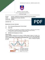 Lab 1 Metrology Measurement of Screw Thread FKM PENANG