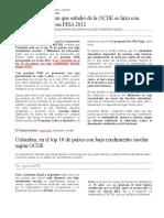 Edu Colombia Resultados de Pruebas PISA 2012