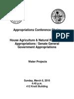 Florida Legislative Session 2016 Water Project List