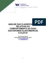 Análise Das Classificações Relativas Ao Comportamento Ao Fogo Das Espumas Elastoméricas K-flex St - Rev V