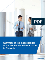 Summary of the main changes to the Norms to the Fiscal Code in Romania