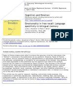 Emotionality in Free Recall Language Specificity in Bilingual Memory