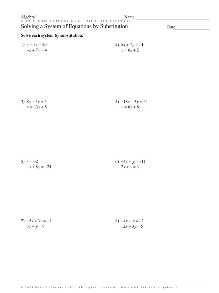 - Solving A System Of Equations By Substitution Worksheet Special
