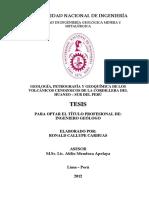 Geología, Petrografía y Geoquímica de LosVOLCÁNICOS CENOZOICOS DE LA CORDILLERA DEL HUANZO – SUR DEL PERÚ
