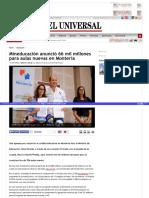 Mineducación anunció 66 mil millones para aulas nuevas en Montería