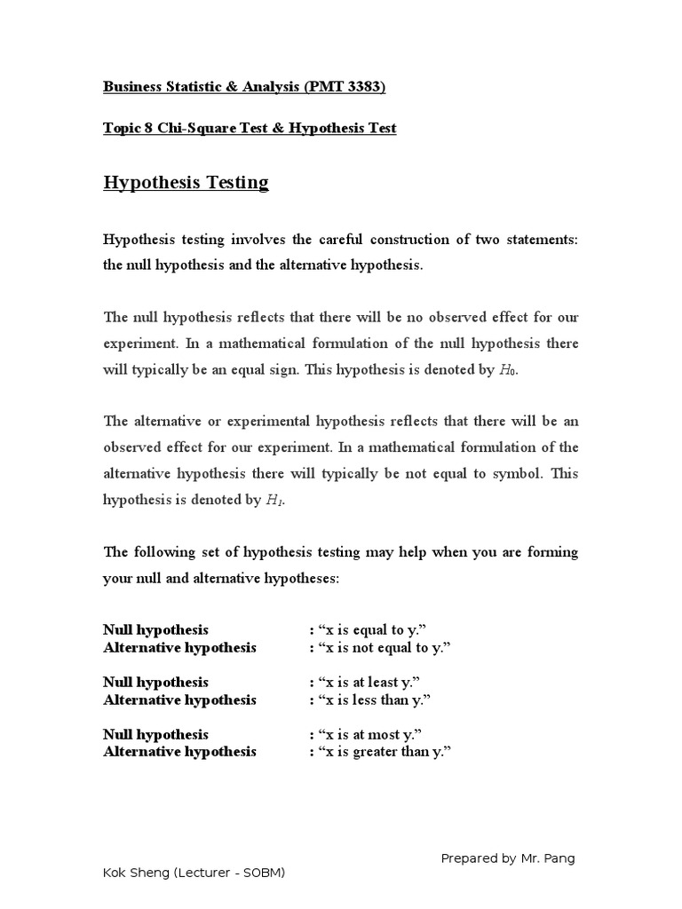 Topic 8 Chi Square Hypothesis Test Statistical Hypothesis