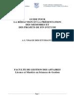 GUIDE POUR LA RÉDACTION ET LA PRÉSENTATION DES MEMOIRES DU MASTERE_VERSION FINALE BA + Mastere