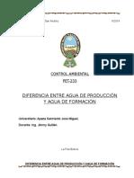 DIFERENCIA ENTRE AGUA DE FORMACIÓN Y AGUA DE PRODUCCIÓN