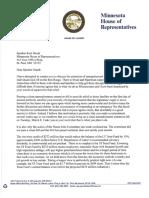 House DFL Leader Thissen letter to Speaker Daudt, 3/7/16