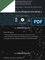 Apresentação sobre Metodologia da Pesquisa em Música