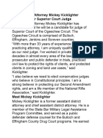 Mickey Kicklighter announcement for judgeship Ogeechee Circuit