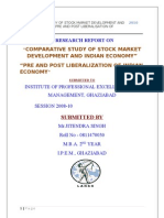 Research Report on Comparative Study of Stock Market Development and Economic Growth Pre and Post Liberalization of Indian Economy